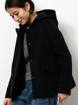 ◆KF W 2WAY ノーカラー HOOD コート SHORT
