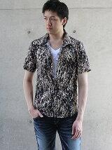 レオパードプリントレースアップシャツ