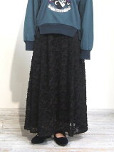 シフォン花柄カットドビーロングスカート