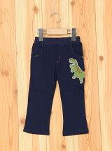 恐竜刺繍9分丈裏毛ストレートパンツ