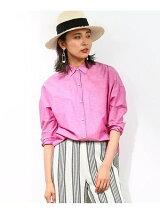 綿リネンパールボタンオーバーシャツ