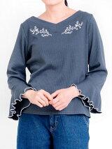 袖フレアリブ刺繍プルオーバー