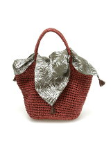 (L)カシュカシュ/タッセルスカーフ付きペーパーかごバッグ