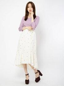 【SALE/61%OFF】BE RADIANCE アップルプリントロングスカート ビーラディエンス スカート スカートその他 ホワイト ピンク ネイビー【送料無料】