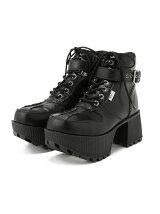(L)ボリュームソールワークブーツ ブラック