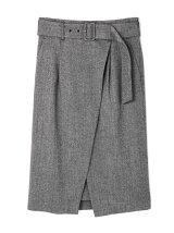 ソフトヘリンボンラップスカート