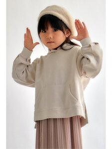 ikka 【キッズ】ダンボールニットスリットパーカー(120~160cm) イッカ カットソー キッズカットソー ベージュ ピンク