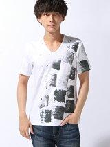 半袖UネックプリントTシャツ