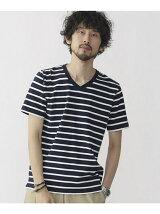 米綿ボーダーVネックTシャツ