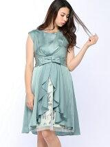 Dorry Doll/(W)オーバースカート付花柄xサテン切替ワンヒ