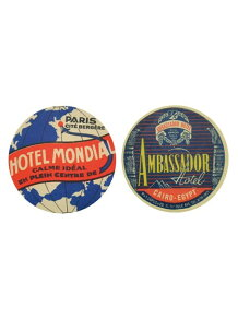 LEADWORKS/ヴィンテージステッカー 2種セット HOTEL MONDIAL & AMBASSADOR HOTEL