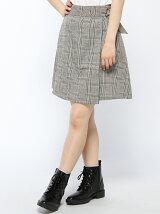 グレンチェック台形ラップスカート