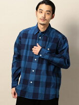 <SHUTTLE NOTES> BLOCK INDIGO CHECK SHIRT/シャツ