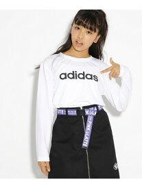 【SALE/20%OFF】PINK-latte adidasロゴ長袖Tシャツ ピンク ラテ カットソー Tシャツ ホワイト ブラック