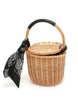 (L)カカトゥ/バンダナ付き柳バケツ型かごバッグ
