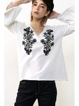 コード刺繍袖フレアTee