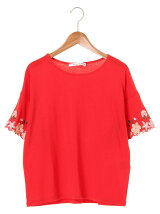 RAY CASSIN FAVORI RAY 袖口カラフル刺繍Tシャツ