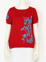 陶器小花刺繍ニットフレアプルオーバー