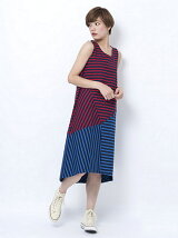 COLORBLOCK STRIPED LONG DRESS