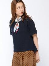 スカーフ付5分袖ニットソー