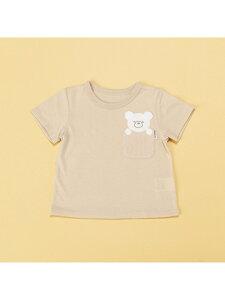COMME CA ISM 動物アップリケ付き 半袖Tシャツ(80・90サイズ) コムサイズム マタニティー/ベビー ベビー用品 ベージュ ホワイト ピンク