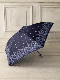 Afternoon Tea グラデーションスカラップ柄軽量折りたたみ傘 アフタヌーンティー・リビング ファッショングッズ 日傘/折りたたみ傘 ネイビー イエロー ホワイト