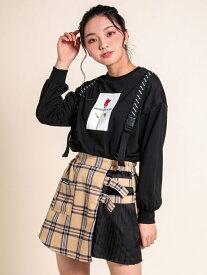 【SALE/58%OFF】ZIDDY チェック サイドプリーツ スカートパンツ(130~160cm) ベベ オンライン ストア パンツ/ジーンズ ショートパンツ ベージュ ブラック パープル