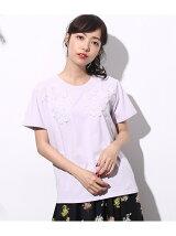 フラワー刺繍Tシャツ