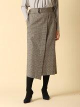 ベルト付きラップ風チェックタイトスカート