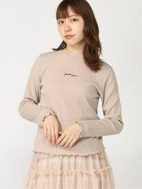 【SALE/37%OFF】WEGO WEGO/(L)ロゴ刺繍リブTシャツ ウィゴー カットソー Tシャツ ベージュ ホワイト