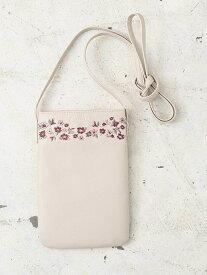【SALE/50%OFF】Cocoonist フォギーフラワー刺繍サコッシュ コクーニスト バッグ バッグその他 グレー ピンク