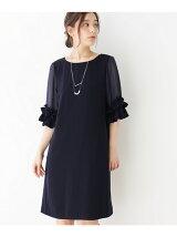 フリルシアースリーブサックドレス