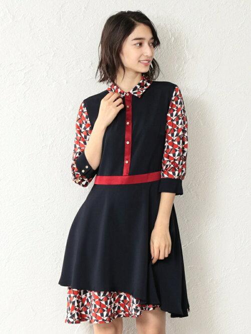 875929ba61c94 GUILD PRIME  LOVELESS WOMEN マリンスカーフシャツカラードレス ...