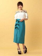 ベロアリボンスリットロングタイトスカート