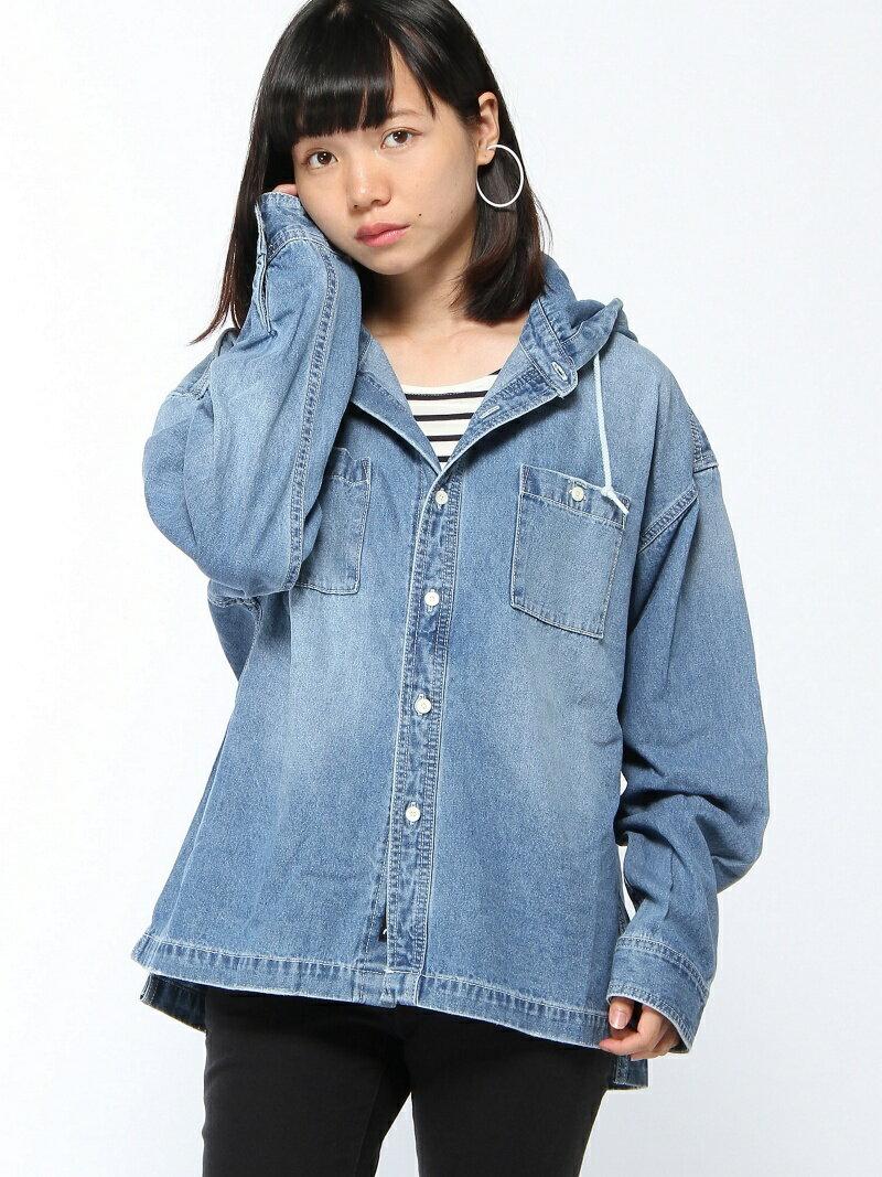 【SALE/43%OFF】X-girl HOODED DENIM SHIRTS エックスガール シャツ/ブラウス【RBA_S】【RBA_E】【送料無料】