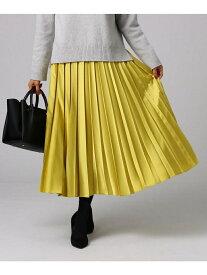 UNTITLED モードサテンプリーツスカート アンタイトル スカート ロングスカート イエロー グリーン ブルー【送料無料】