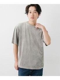 【SALE/77%OFF】ITEMS ベロア5分袖ビッグTシャツ アーバンリサーチアイテムズ カットソー Tシャツ グレー パープル イエロー