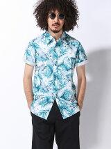 (M)【セレクト】リーフパターン 綿麻シャンブレーシャツ