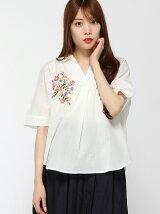 刺繍スキッパーシャツ