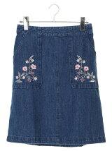 ポケット刺繍デニム台形スカート