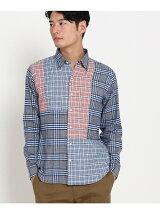 ブルー×レッドカジュアルチェックシャツ