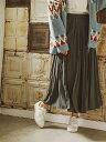 BAYFLOW (W)プリーツロングSK ベイフロー スカート プリーツスカート/ギャザースカート グレー オレンジ【送料無料】