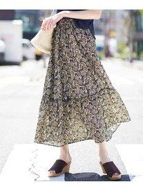 【SALE/70%OFF】a.v.v ペイズリープリントティアードスカート[WEB限定サイズ] アー・ヴェ・ヴェ スカート スカートその他 ネイビー ベージュ