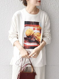 【SALE/50%OFF】SHIPS WOMEN 【WEB限定/SHIPS別注】ANNA MAGAGIZE×FRUIT OF THE LOOM:フォトロンTEE◇ シップス カットソー Tシャツ ホワイト ブラック グレー イエロー グリーン