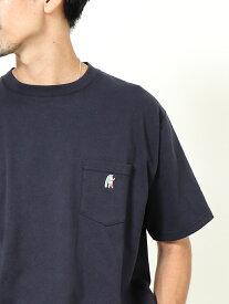 【SALE/50%OFF】coen USAコットンベア刺繍ポケットTシャツ コーエン カットソー Tシャツ ネイビー ベージュ