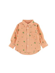 Insect Collection (K)アイロン要らずな速乾ギンガムかまきりくんシャツ キッズ インセクトコレクション カットソー キッズカットソー オレンジ ブルー