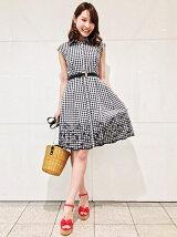 裾レースフレンチスリーブ刺繍シャツワンピース