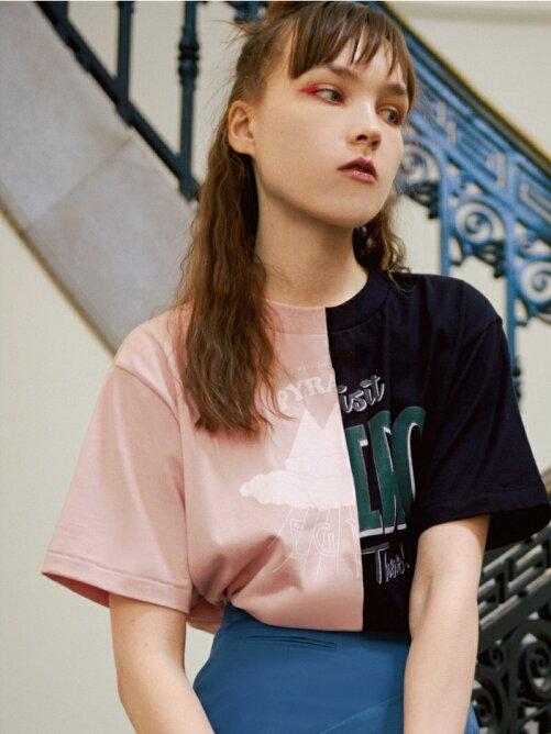 リメイクバイカラープリントTシャツ