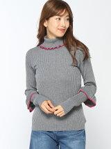 doll up oops/(W)衿袖配色 フリルリブニット