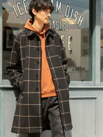 【SALE/10%OFF】coen ワイドフィットブリティッシュチェックステンカラーコート コーエン コート/ジャケット ステンカラーコート ブラック ブラウン【送料無料】